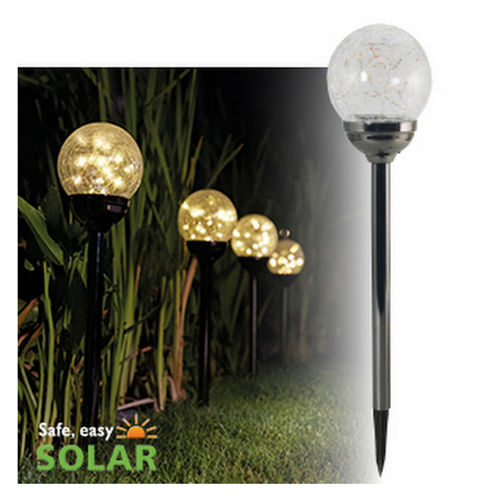 Luxform Solar Stake Light – Black Pearl - Large Globe - 4 Lights
